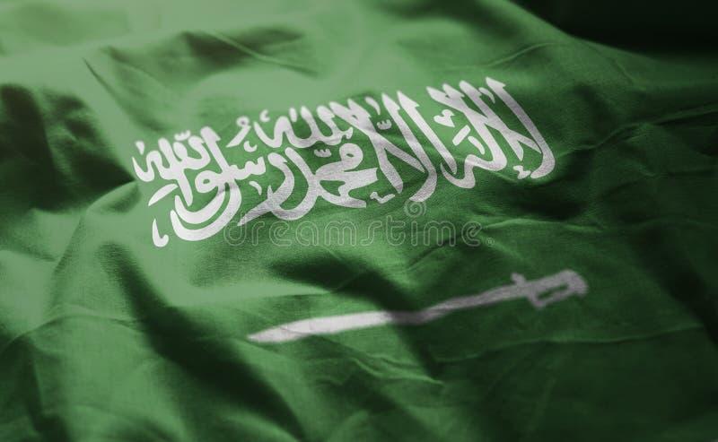 沙特阿拉伯旗子起皱了接近  库存图片