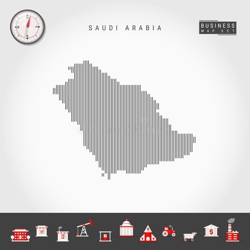 沙特阿拉伯的传染媒介垂直线地图 沙特阿拉伯的镶边剪影 现实指南针 r 向量例证