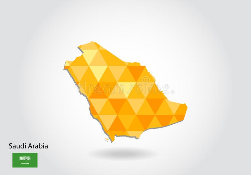 沙特阿拉伯的几何多角形样式传染媒介地图 向量例证