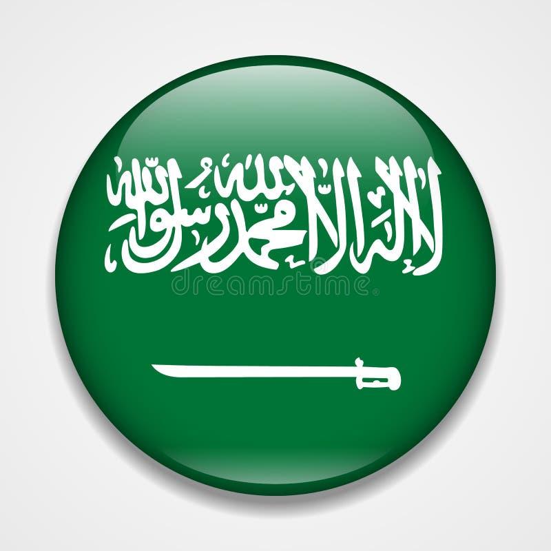 沙特阿拉伯的标志 圆的光滑的徽章 向量例证