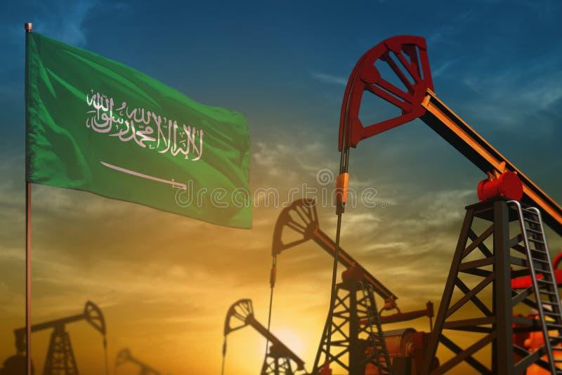沙特阿拉伯石油工业概念 工业例证-沙特阿拉伯旗子和油井反对蓝色和黄色日落sk 库存例证
