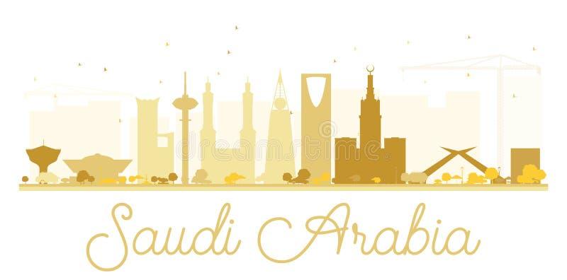 沙特阿拉伯金黄地平线剪影 库存例证