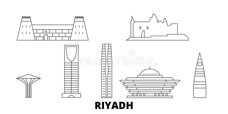 沙特阿拉伯,利雅得线旅行地平线集合 沙特阿拉伯,利雅得概述城市传染媒介例证,标志,旅行 库存例证