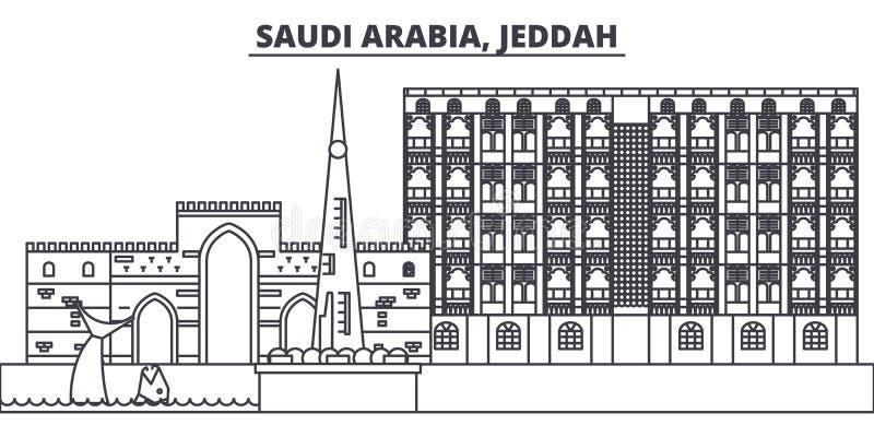 沙特阿拉伯,吉达线地平线传染媒介例证 与著名地标的沙特阿拉伯,吉达线性都市风景,城市 库存例证