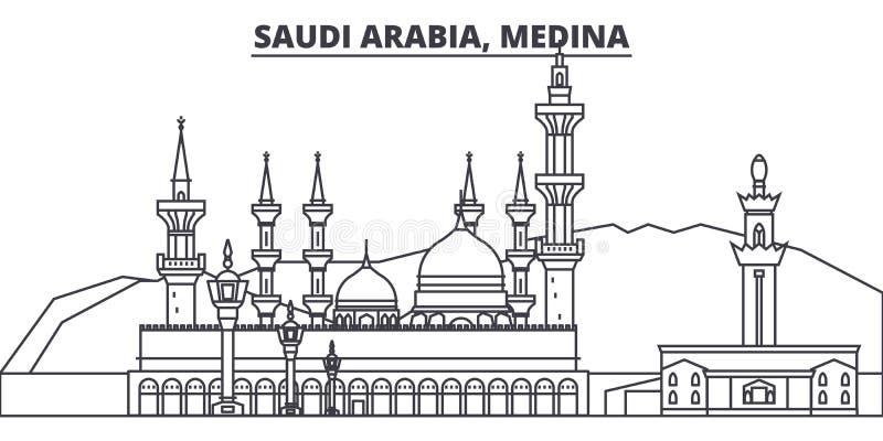 沙特阿拉伯,麦地那线地平线传染媒介例证 与著名地标的沙特阿拉伯,麦地那线性都市风景,城市 向量例证