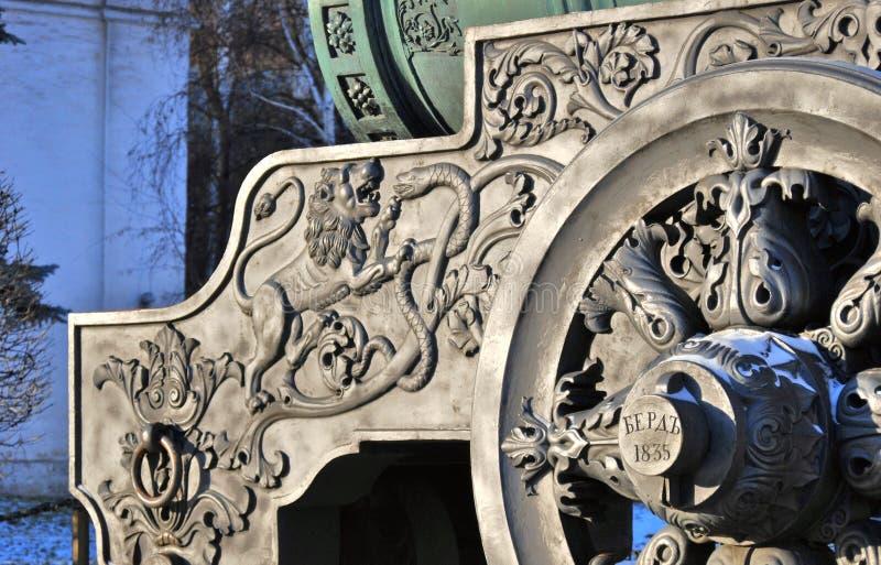 沙皇大炮(Cannon国王)在克里姆林宫在冬天 库存图片
