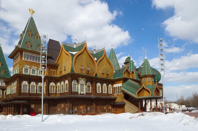 沙皇阿列克谢米哈伊洛维奇木宫殿在Kolomenskoye公园,莫斯科,俄罗斯 库存图片