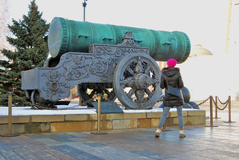 沙皇Pushka (Cannon国王)在克里姆林宫 彩色照片 免版税库存照片