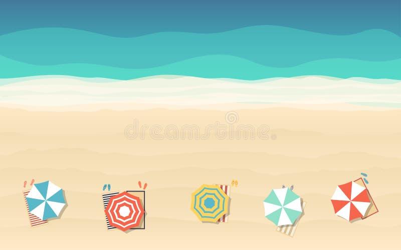 沙滩伞顶视图在平的象设计的在海背景 库存例证