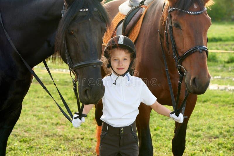 沟通与她的在专业成套装备的马的小女孩骑师 免版税库存图片