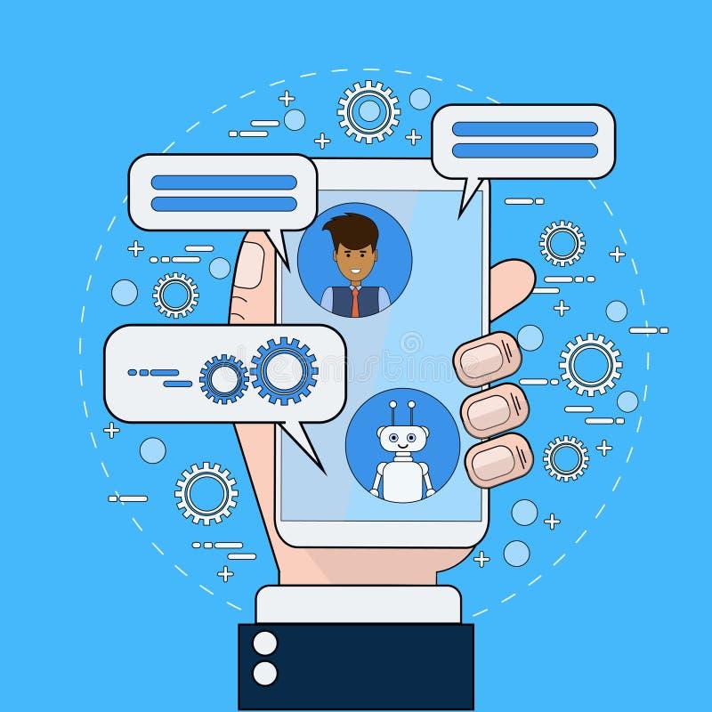 沟通与Chatbot的商人使用巧妙的电话 库存例证
