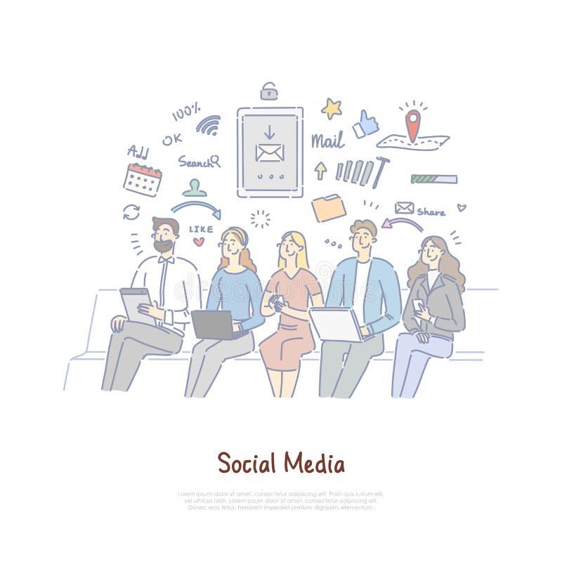 沟通在数字空间,互联网技术的朋友,在网上聊天,社会媒介瘾横幅 向量例证
