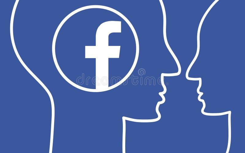 沟通在Facebook的人们 在蓝色背景的抽象平的设计 向量例证