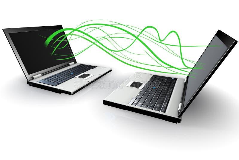 沟通的膝上型计算机二无线 皇族释放例证