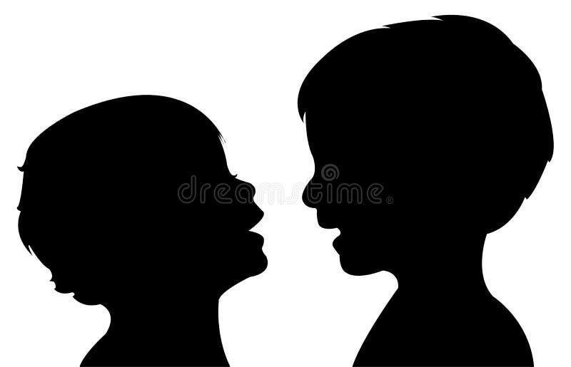 沟通的婴孩剪影传染媒介 向量例证