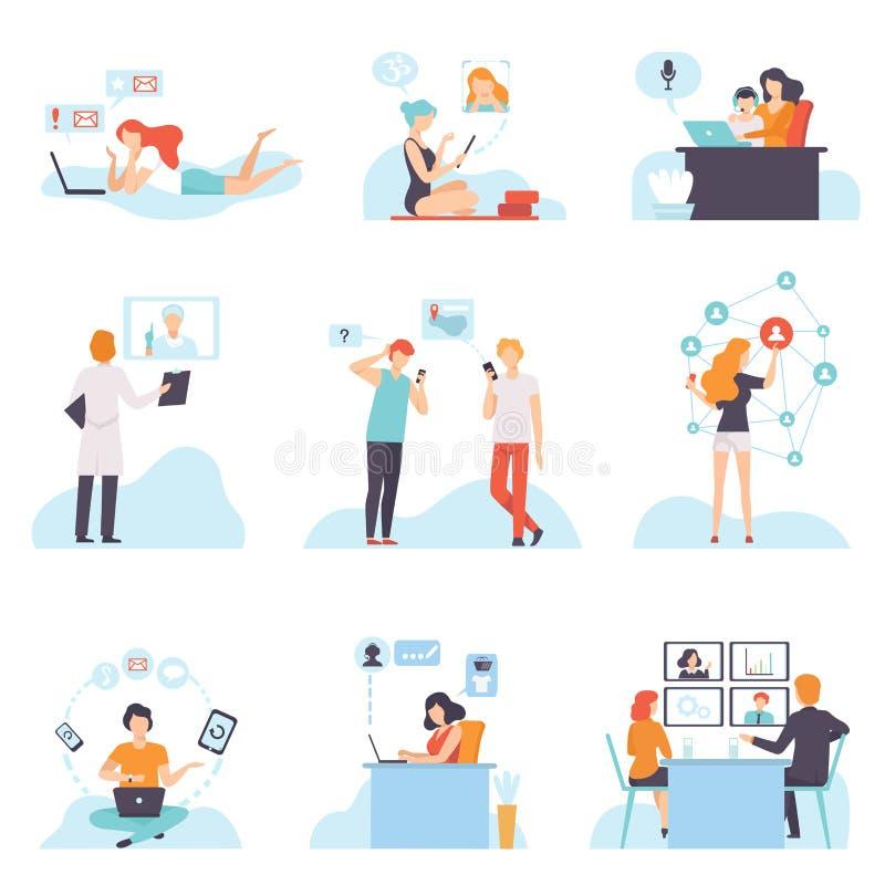 沟通通过互联网的人们与移动设备集合、聊天的年轻人和的妇女,购买,见面,谈论 向量例证
