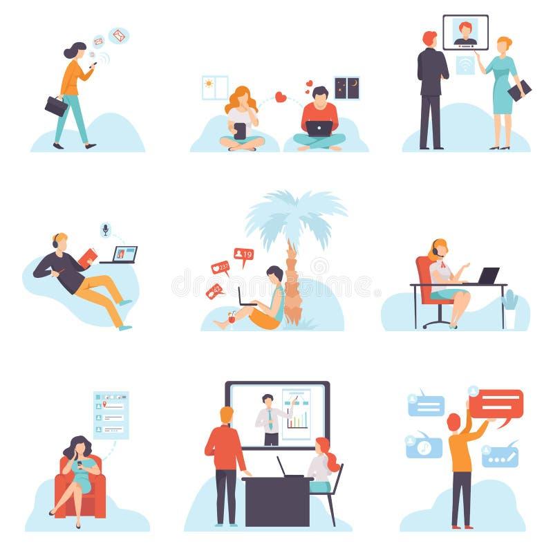 沟通通过互联网的人们与移动设备集合,聊天的年轻人和的妇女,约会,写电子邮件 向量例证