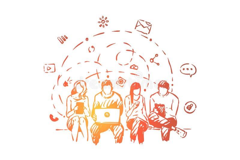 沟通通过携带式装置的少年在网上分享评论和消息的,男人和妇女 向量例证