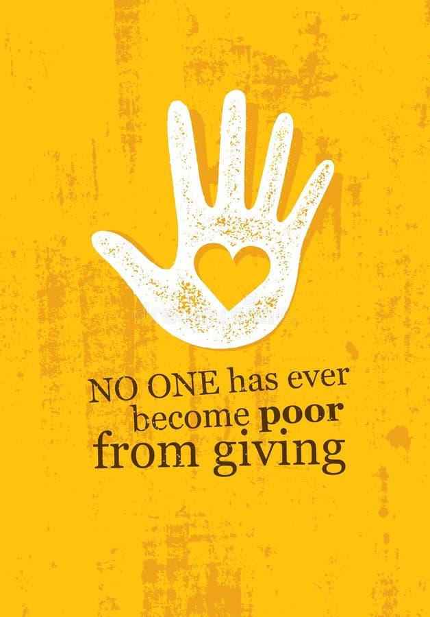 没人变得穷从给 启发创造性的刺激行情的慈善 传染媒介印刷术横幅 库存例证