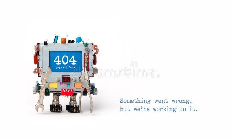 没找到的404个错误页 有手板钳钳子的杂物工机器人在白色背景 正文消息某事出了错 免版税库存图片
