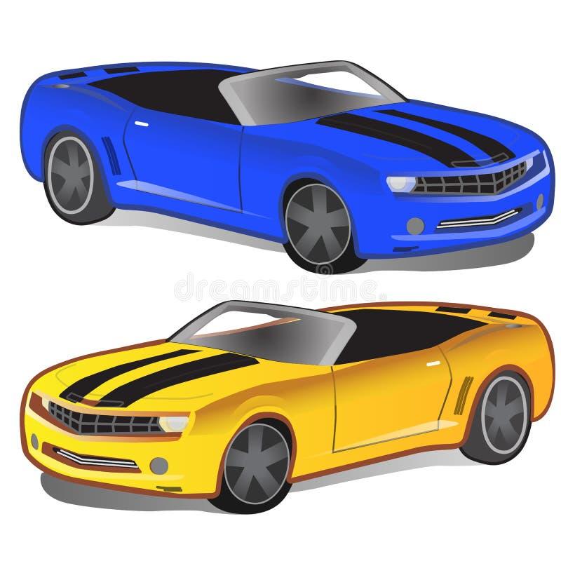 没有上面的黄色和蓝色跑车 sportcar经典的葡萄酒 两被隔绝的减速火箭的汽车 向量 向量例证