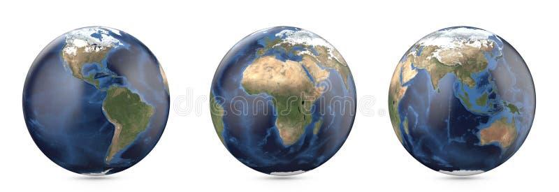 没有云彩的行星地球 显示美国,欧洲,非洲,亚洲,澳大利亚大陆 向量例证