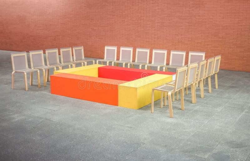 没有人的五颜六色的候选会议地点 库存照片