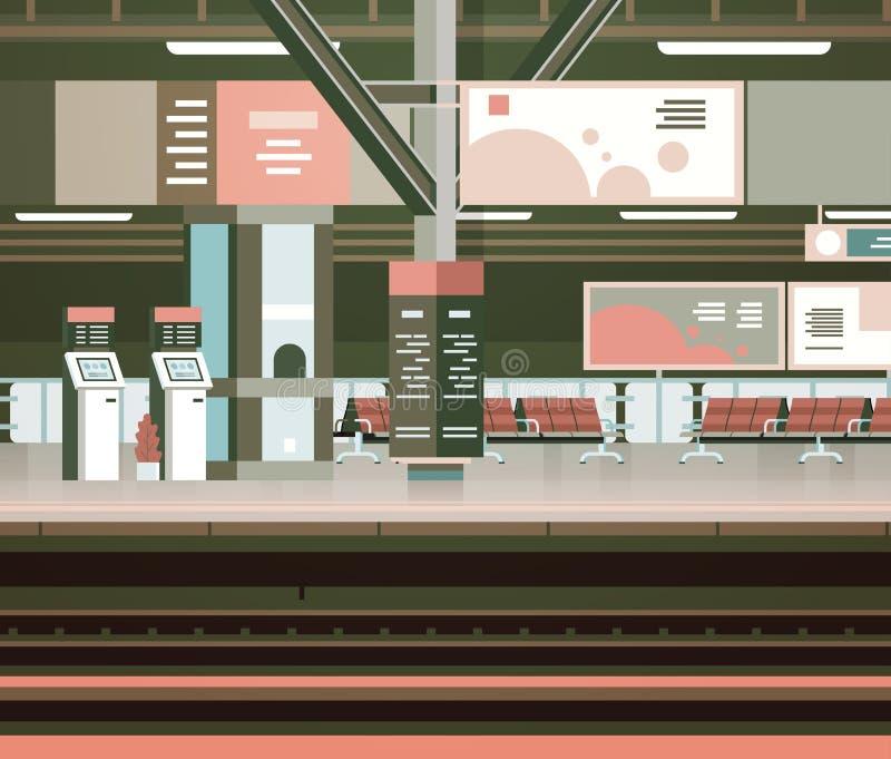 没有人运输和运输概念的火车站内部空的平台 皇族释放例证