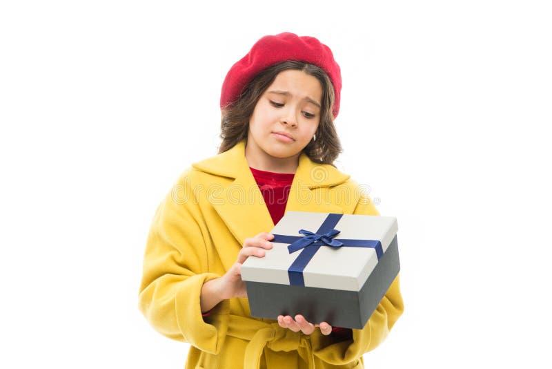 没有什么我期待 法国贝雷帽感受失望的女孩孩子 有不快乐的面孔的小巴黎人女孩 库存图片