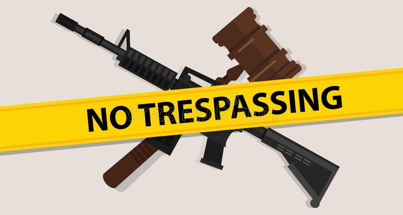 没有侵入的法律惊堂木木锤子正义法律司法胳膊攻击步枪军事战争力量 向量例证