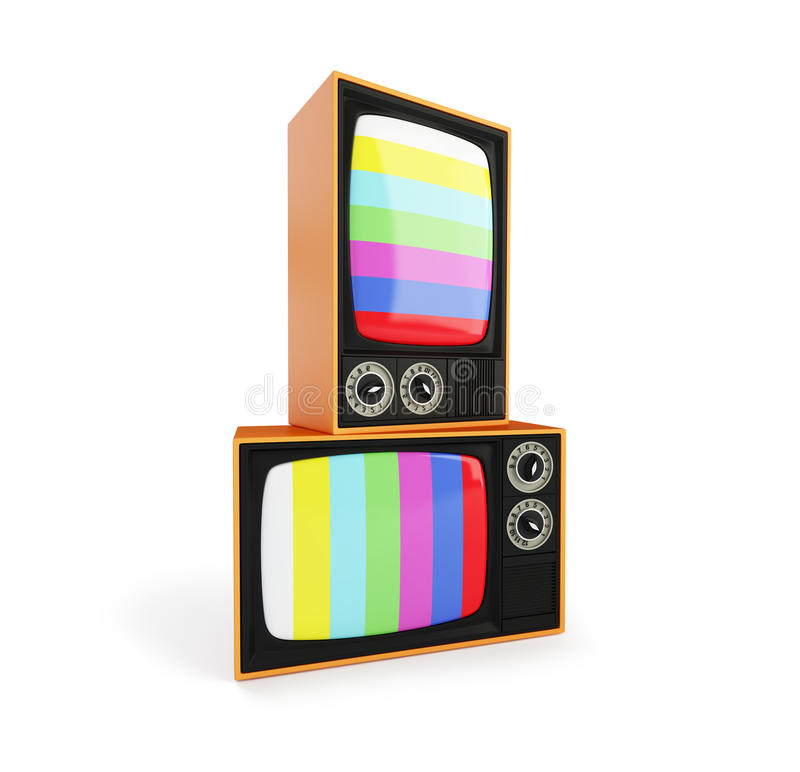 没有信号电视,经典葡萄酒减速火箭的样式老电视屏幕的老电视, 在白色背景的老电视 皇族释放例证