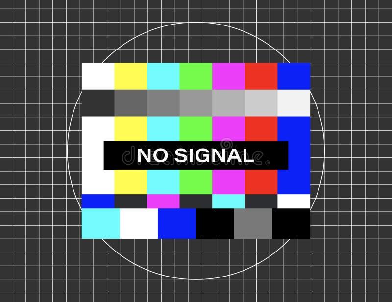 没有信号 被变形的小故障电视 后裔网络 t 向量例证