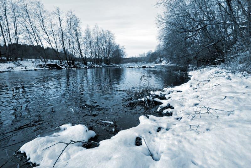 没有冰的河在与雪的冬天在岸和增长的树 库存照片