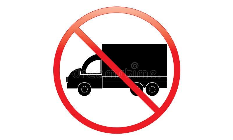 没有卡车象-禁止停车范Symbol -没有旅行的车-禁止停车卡车象,被隔绝 平的设计 向量例证