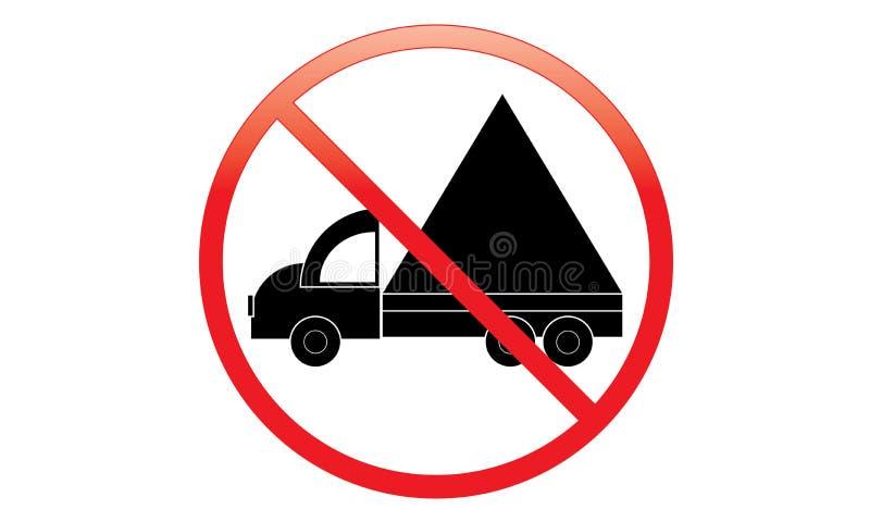 没有卡车象-禁止停车范Symbol -没有旅行的车-禁止停车卡车象,被隔绝 平的设计 库存例证