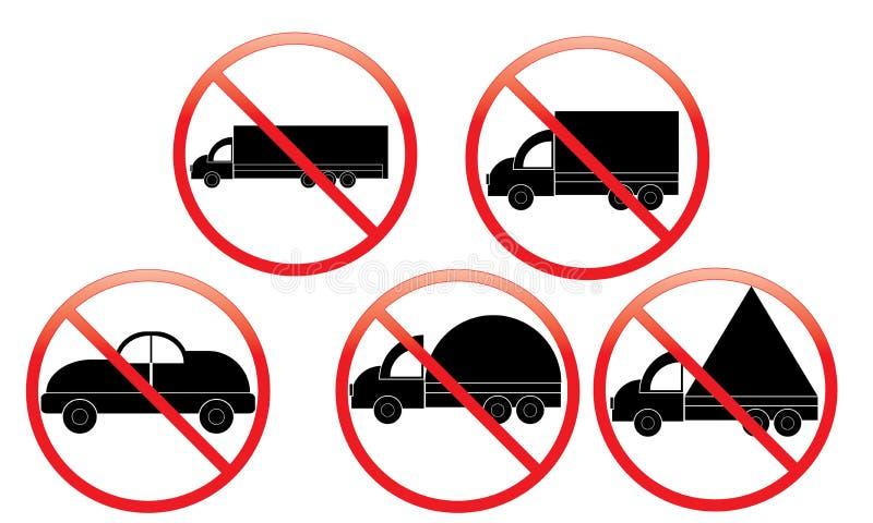 没有卡车象-禁止停车范Symbol -没有旅行的车-禁止停车汽车象,被隔绝 平的设计 向量例证