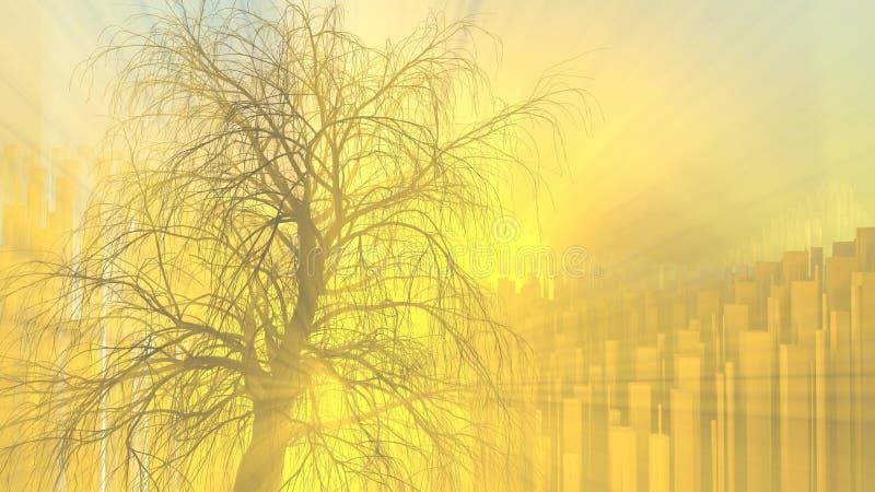 没有叶子的偏僻的树在城市背景的明亮的橙色太阳神光芒或薄雾点燃的雾 3d例证 向量例证
