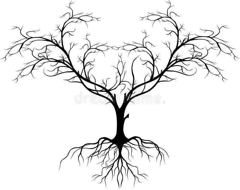 没有叶子的结构树剪影您的设计 皇族释放例证