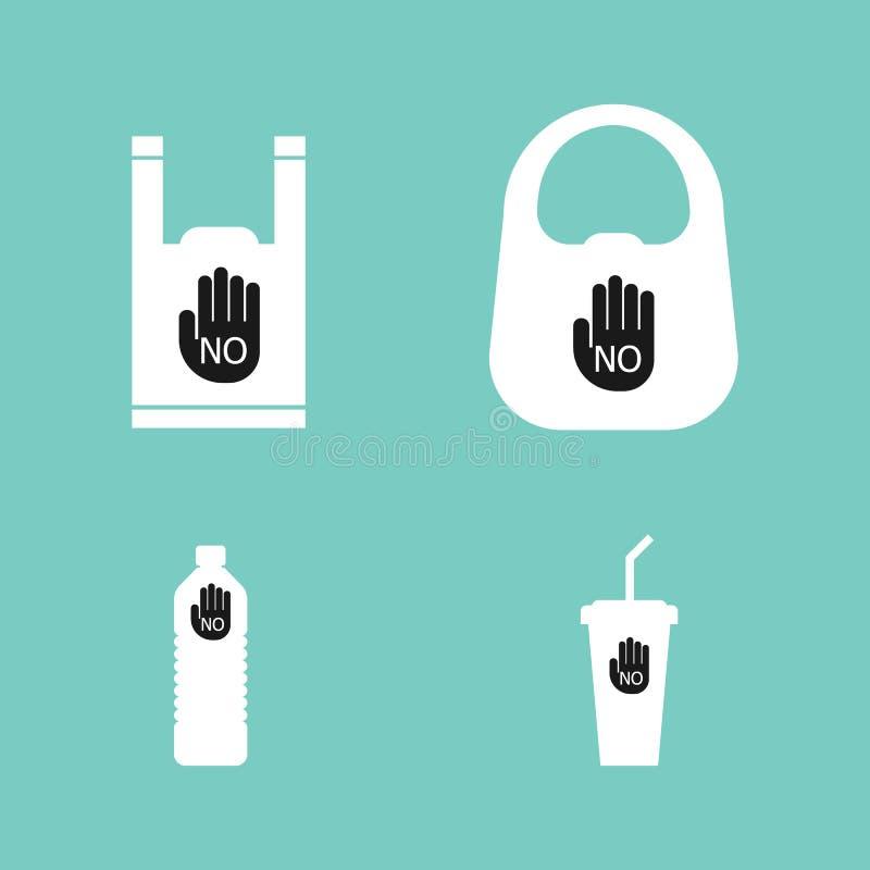 没有塑料袋,瓶,杯子背景 库存例证