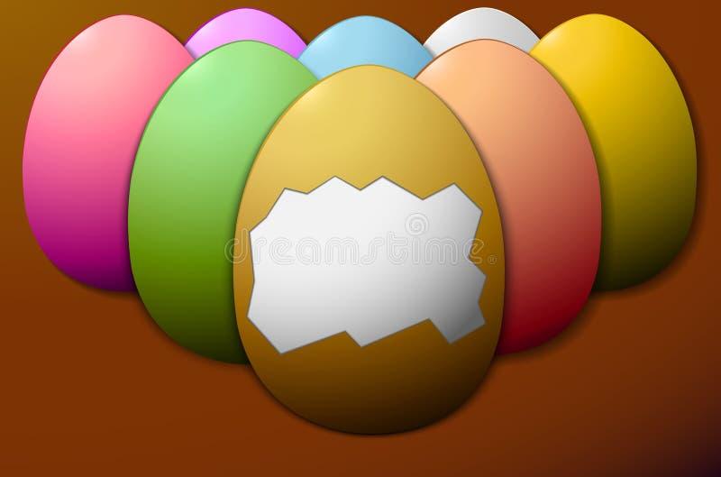 没有壳的集合五颜六色的复活节彩蛋在中心棕色背景中 向量例证