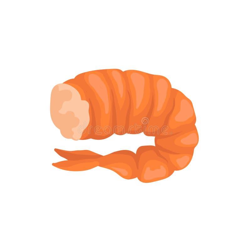没有头的煮沸的虾在明亮的红色壳 新鲜和鲜美大虾 被烘烤的特写镜头奶油照片粉红色三文鱼海鲜主题蔬菜 平的传染媒介象 皇族释放例证