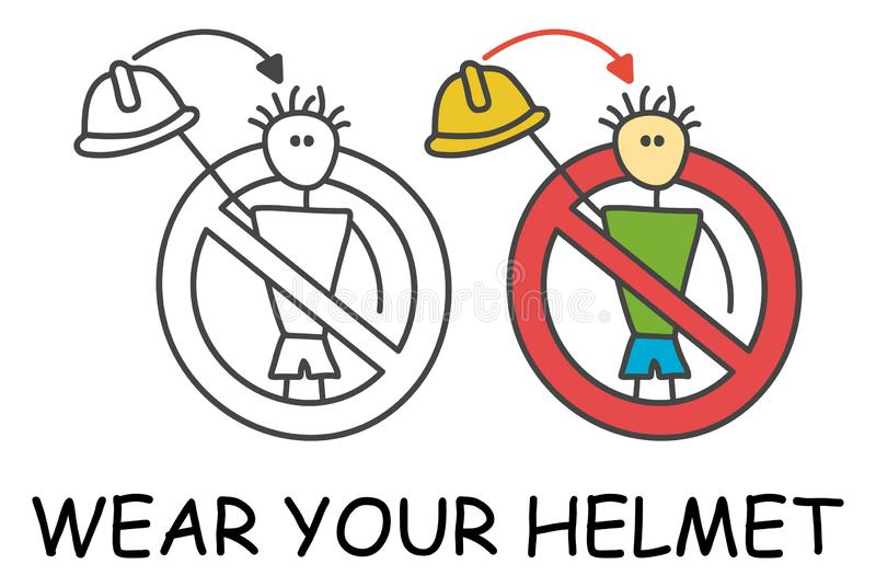 没有安全帽的滑稽的传染媒介工作者棍子人对于儿童样式 不要离开您的盔甲标志红色禁止 向量例证