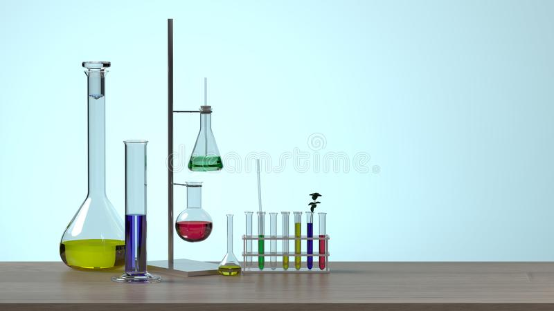没有干净人科学实验室研究与开发概念蓝色背景实验室发展的研究的设备 库存例证