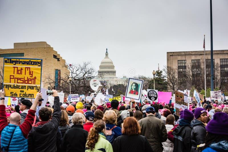 没有我的总统-妇女3月-华盛顿特区 库存照片