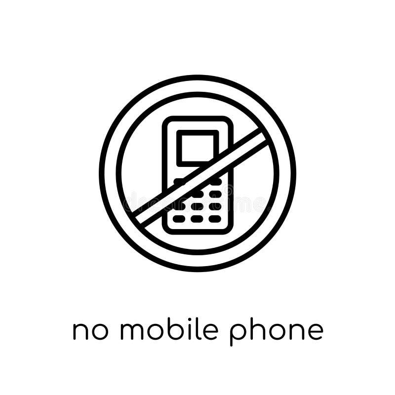没有手机标志象 时髦现代平的线性传染媒介没有m 向量例证