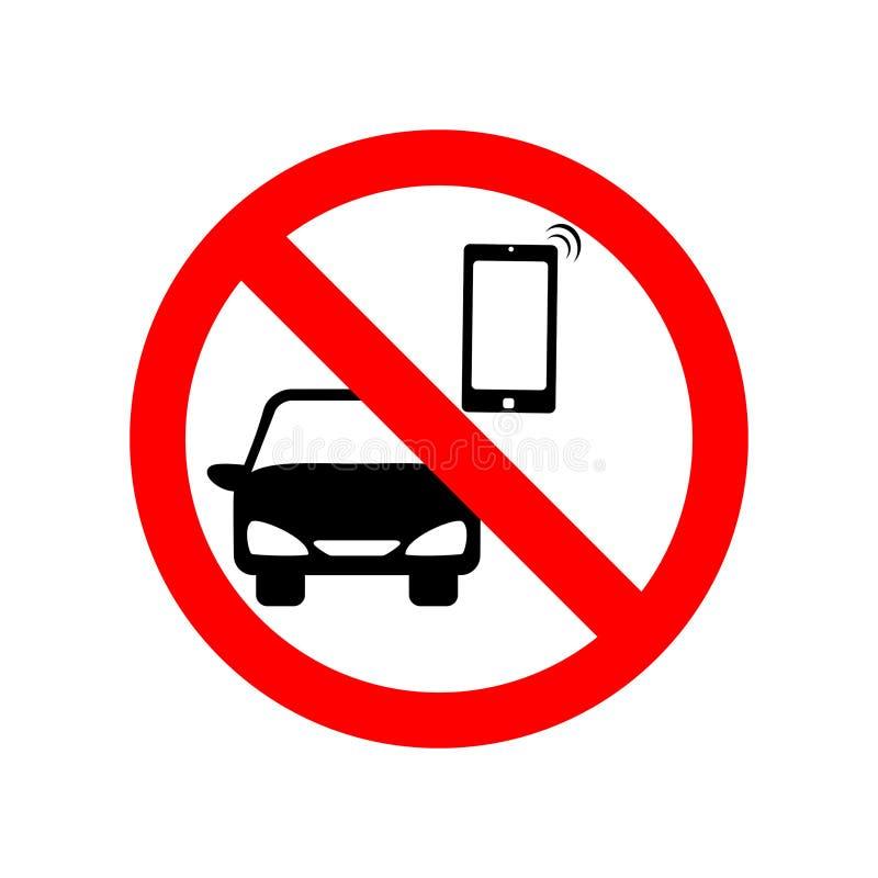 没有手机,当驾驶标志时 库存例证