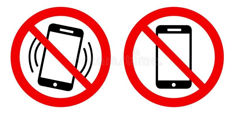 没有手机-禁止的手机-哑标志 皇族释放例证