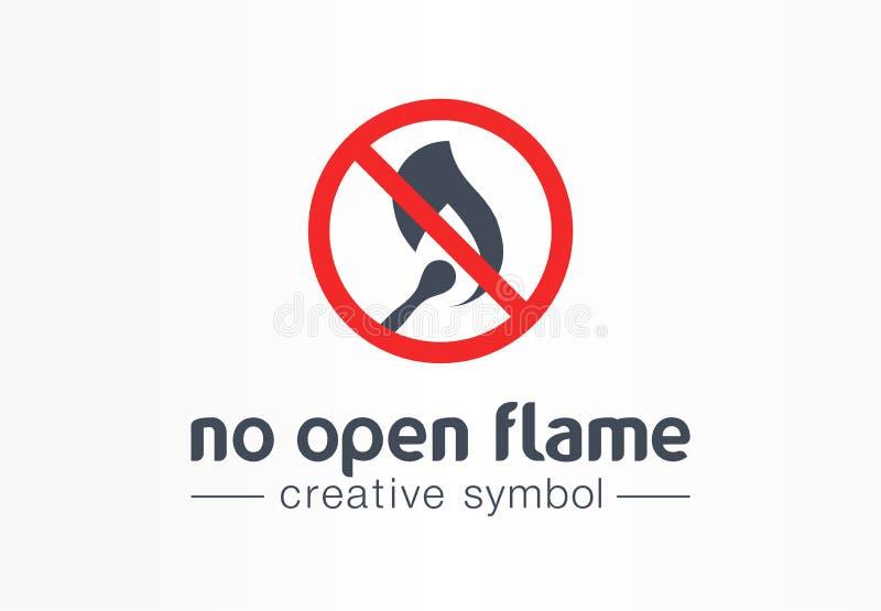 没有明火创造性的标志概念 警告的火禁止摘要企业安全商标 火焰来源小心 向量例证