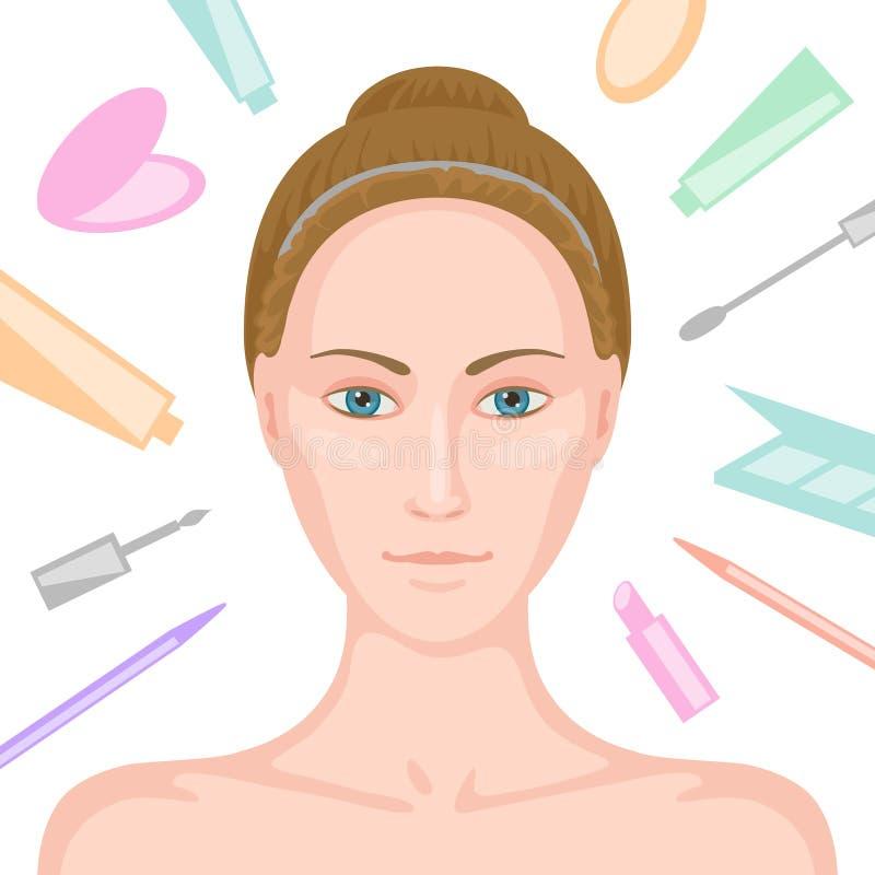 没有构成和各种各样的化妆用品的妇女 皇族释放例证