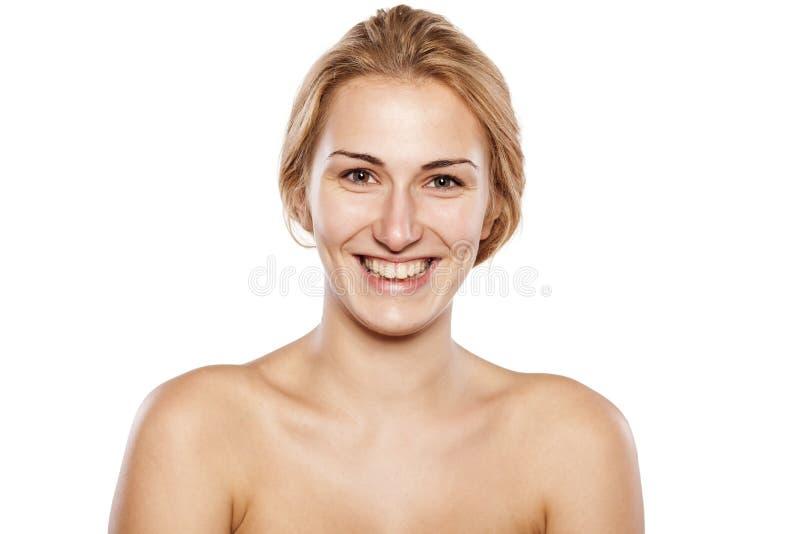 没有构成的金发碧眼的女人 库存图片